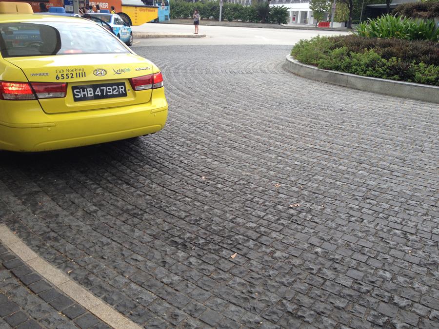 grey basalt cobblestone at singapore flyer3