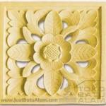 relief ukiran batu alam motif bunga matahari segi 4